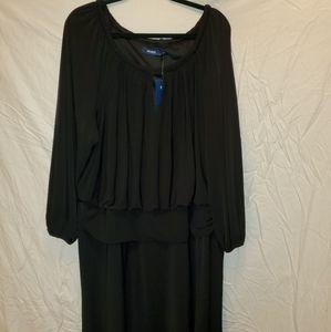 Eloquii black puff sleeve drop waist dress size 18
